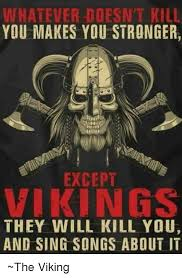 Viking Meme - whatever doesnt kill you makes you stronger except vikings they
