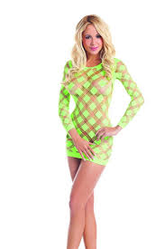 womens clothing club dresses neon lime long sleeve checkered cut