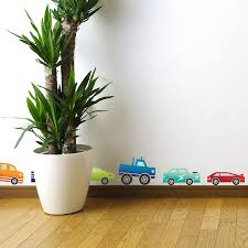 coloured cars wall sticker set by spin collective coloured cars wall sticker set