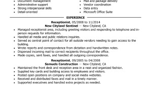 Resume Template For Receptionist Free Resume Templates For Dummies Receptionist Administration