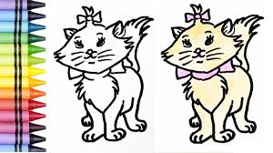 how to draw and color cat learn colors drawing and coloring