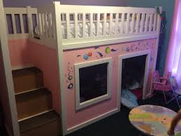ana white playhouse loft bed with storage steps diy projects
