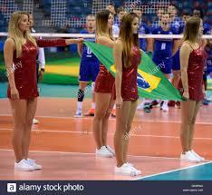 Cheerleader Flags Krakow Poland 16th July 2016 Cheerleaders Hold The Brazilian