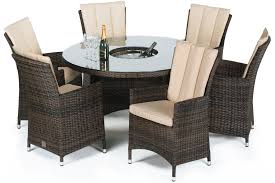 6 seater patio furniture set maze rattan la 6 seat round dining set with a luxury 135cm inset