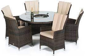 maze rattan la 6 seat round dining set with a luxury 135cm inset