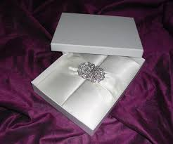 wedding invitations in a box fancy ivory satin wedding invitation folio with satin ribbon