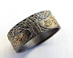 Unique Mens Wedding Rings by Mens Wedding Band Molten Gold Silver Unique Mens Ring Gold