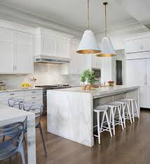 transitional kitchen design with white marble water filtration