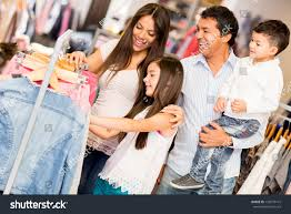 family shopping clothes looking happy stock photo 133079141