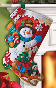snowman with presents 18 bucilla felt kit