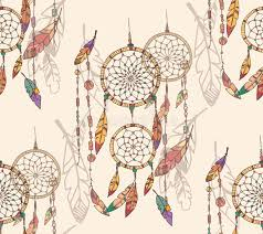 bohemian dream catcher with beads and feathers seamless pattern