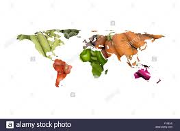 World Map Cartoon by World Map Collage Of Lots Of Popular Fruits And Vegetables Stock