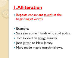 poetic devices vocabulary 1 alliteration repeats consonant