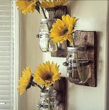 sunflower kitchen ideas hanging wall vase cottage chic jar hanging wall by palletso