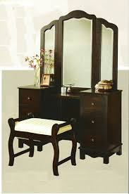3 pc espresso finish wood large size bedroom make up vanity set