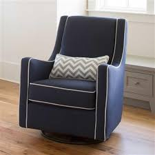 navy and gray modern glider with white and gray zig zag pillow