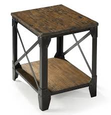 Small Rectangular End Table With Rustic Iron Legs By Magnussen Home