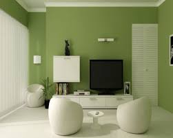 simple and modern green and white living room with white marble
