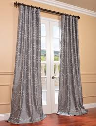 Faux Silk Embroidered Curtains Silvery Curtains Silver Embroidered Faux Silk Curtain