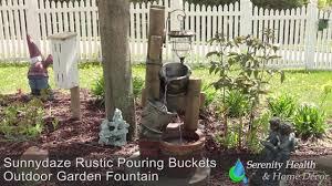 sunnydaze rustic pouring buckets outdoor garden fountain wnc 382