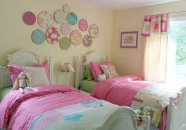 Small Bedroom With 2 Beds Delectable Twin Beds Set In Small Bedroom Using Pink Bedding Color