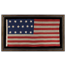 Flag With Cross And Stripes Entirely Hand Sewn Antique American Flag With 16 Stars Tennessee