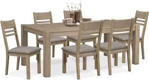 tribeca table and 6 side chairs gray value city furniture dining room furniture tribeca table and 6 side chairs gray hover to zoom