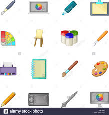 drawing and painting tools icons set cartoon illustration of 16