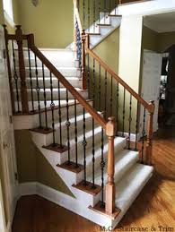 diy wrought iron baluster stair spindle install with step photos