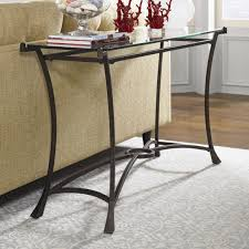Glass Top Accent Table Contemporary Metal Sofa Table With Glass Top By Hammary Wolf And