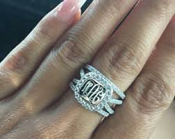 monogrammed rings silver monogram ring etsy
