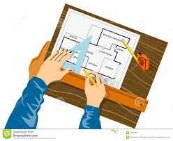 house plan drawing hands drawing house plan stock image image 4530851