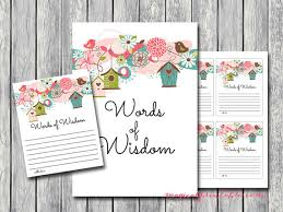 words of wisdom cards for bridal shower words of wisdom words of wisdom cards birds whimsical