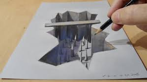 easy 3d painting illusion on paper with watercolor drawing a hole trap how to draw