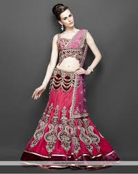 de modish pink and purple combination bridal lehenga