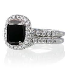 unique engagement ring settings 2 carat unique black diamond and diamond bridal ring set on 10k