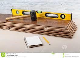 New Laminate Flooring Carpentry Concept Different Tools On The New Laminate Flooring And