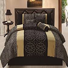 Leopard Comforter Set King Size Coupon For 7pcs Black Gold Gray Leopard Embroidered Bed In A Bag