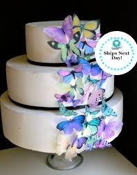 Edible Butterflies Purple and Green Butterfly Cake