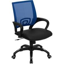 Blue Computer Chair Mid Back Gray Mesh Computer Chair With Black Leather Seat