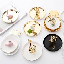 ceramic rabbit ring holder images Decorative porcelain plate flamingos ring plate rings holder jpg