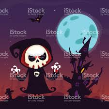 halloween purple background cute cartoon grim reaper with scythe poster for halloween party