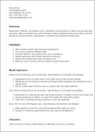 Resume Templates And Examples by Professional Chemistry Lab Assistant Templates To Showcase Your