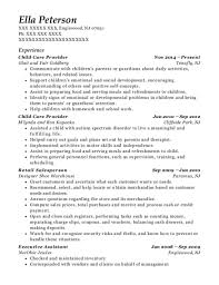 Self Employed Resume Sample Self Employed Child Care Provider Resume Sample Bakersfield