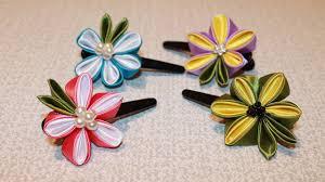 kanzashi hair pin diy kanzashi flower hair clip kanzashi flower tutorial