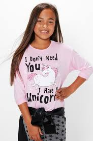 Unicorn Clothes For Girls Girls Unicorn Placement Long Sleeve Top Boohoo