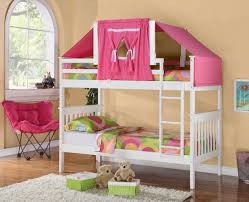 Bunk Beds Tents White Bunk Bed With Pink Tent