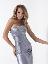 bridesmaid dresses silver sheath strapless floor length silver evening prom