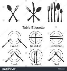 Correct Table Setting by Cutlery Signs Table Etiquette Set Vector Stock Vector 376762066