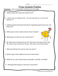 three syllable riddles syllables worksheet 3